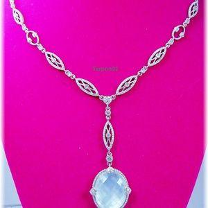 """Judith Ripka MOP+Diamonique Silver Y-Necklace 18"""""""